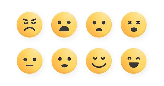 Set van platte cartoon emoji gezicht pictogrammen. commentaar reactie. leuke emoticon vector collectie.