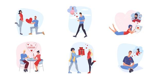 Set van platte cartoon stijl van liefhebbers die samen genieten van quality time