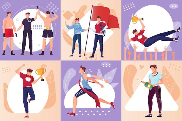 Set van platte composities met gelukkige atleten die trofeeën houden die de finishlijn overschrijden