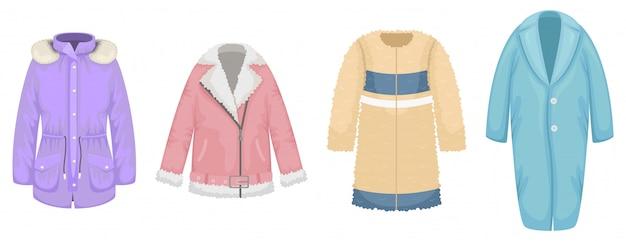Set van platte dames bovenkleding. jas van schapenvacht, jas van imitatiebont, parka, jas.