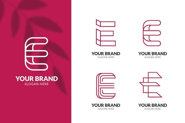 Set van platte e-logo sjablonen