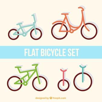 Set van platte fietsen