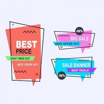 Set van platte geometrische memphis vector banners stijl. kortingsaanbieding prijsetiket, verkoop promomarketing