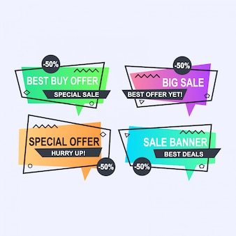 Set van platte geometrische memphis vector banners stijl. kortingsaanbod prijslabel,