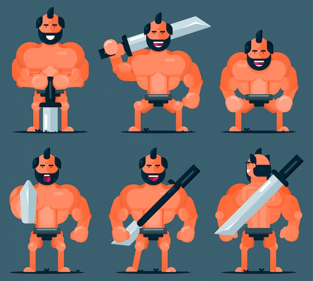 Set van platte grote man stripfiguur