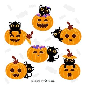 Set van platte halloween pompoenen