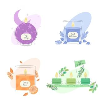 Set van platte hand getrokken aromatherapie