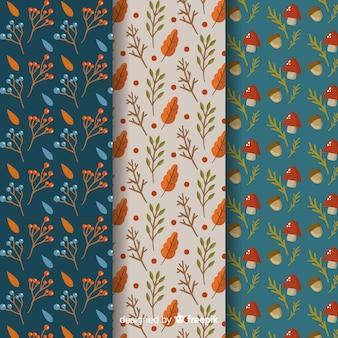 Set van platte herfst patronen