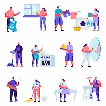 Set van platte huispersoneel tekens thuis tekens schoonmaken