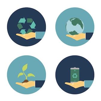 Set van platte illustraties met menselijke hand met recycling teken, eco batterij, spruit en planeet aarde, ecologie alternatieve energieconcept