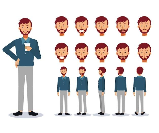 Set van platte karakter man draagt vrijetijdskleding met verschillende weergaven, cartoon-stijl.