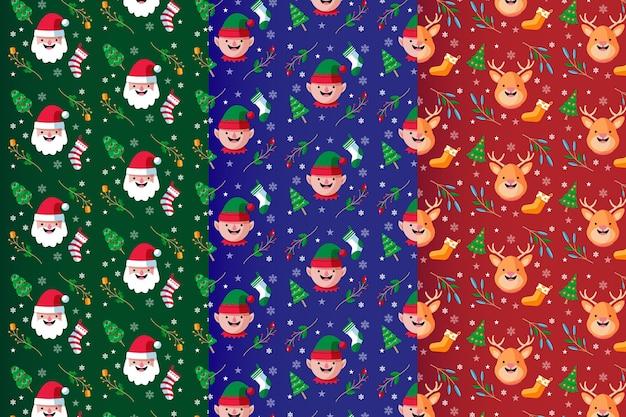 Set van platte kerst patronen