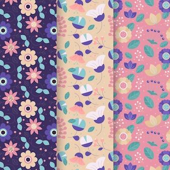 Set van platte kleurrijke lente patronen