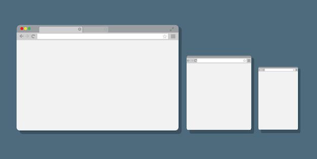 Set van platte lege browservensters voor verschillende apparaten.
