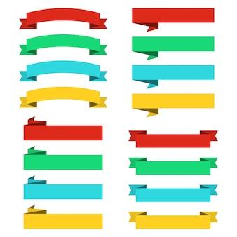 Set van platte linten banners