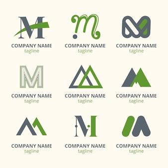 Set van platte m logo sjablonen
