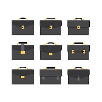 Set van platte mannenhandtas met zwart en luxe concept.