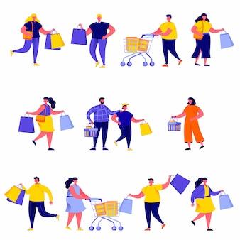 Set van platte mensen die boodschappentassen met aankopen tekens