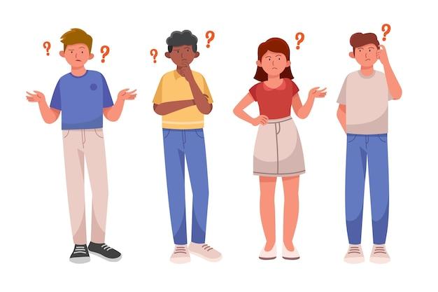 Set van platte mensen die vragen stellen