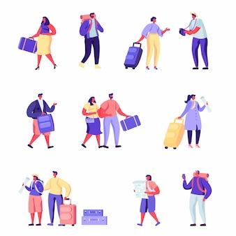 Set van platte mensen familie gaat op vakantie karakters.