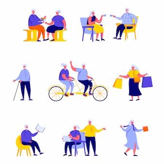 Set van platte mensen gelukkige ouderen uitvoeren van dagelijkse activiteiten tekens