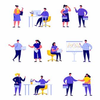 Set van platte mensen groep zakenlieden en managers karakters