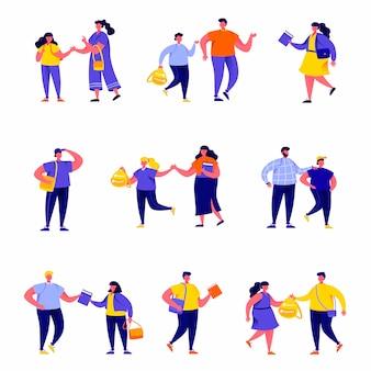 Set van platte mensen leerlingen, schoolkinderen en studenten karakters