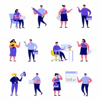Set van platte mensen zakelijke zakelijke karakters
