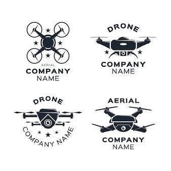 Set van platte ontwerp drone-logo