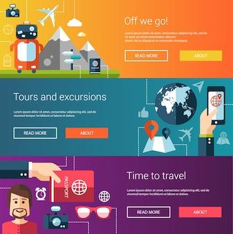Set van platte ontwerp flyers en headers van reizen