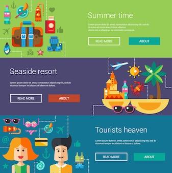 Set van platte ontwerp flyers illustratie