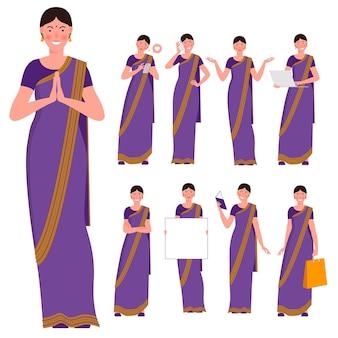 Set van platte ontwerp jonge indiase vrouw saree dragen
