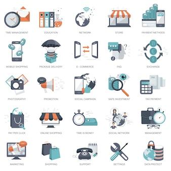 Set van platte ontwerp pictogrammen voor het bedrijfsleven