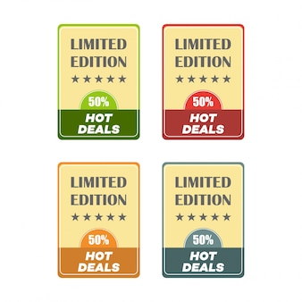 Set van platte ontwerp verkoop stickers vector illustraties voor online shopping product promoties website en mobiele website badges advertenties afdrukmateriaal