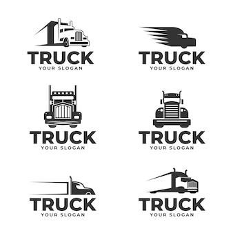 Set van platte ontwerp vrachtwagen logo's