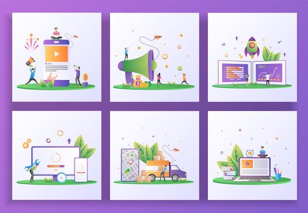 Set van platte ontwerpconcept. social media marketing, verwijs een vriend, startup business, updatesysteem, bezorgservice, e-learning.