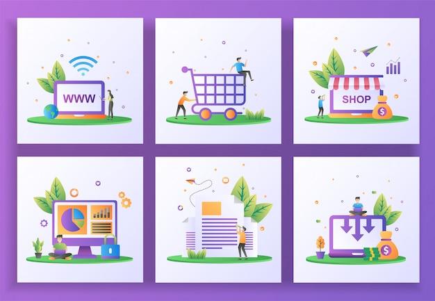 Set van platte ontwerpconcept. website, happy shopping, online shop, gegevensbeveiliging, nieuwsbrief, kostenreductie.
