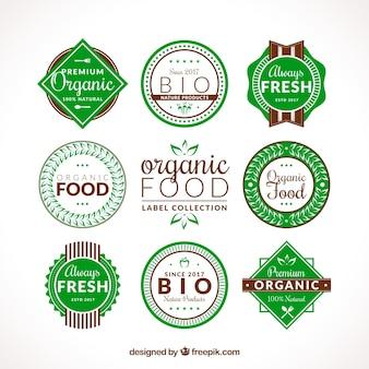Set van platte organische voedseletiketten met bruine details
