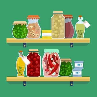Set van platte pantry geïllustreerd