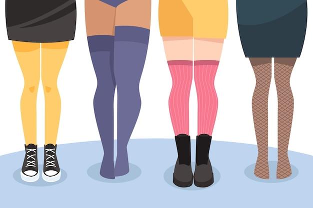 Set van platte panty's met panty's