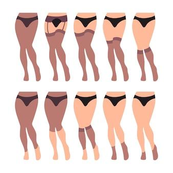 Set van platte panty's