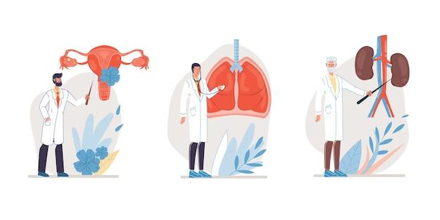 Set van platte stripfiguren arts en verpleegsters in uniforme afbeelding