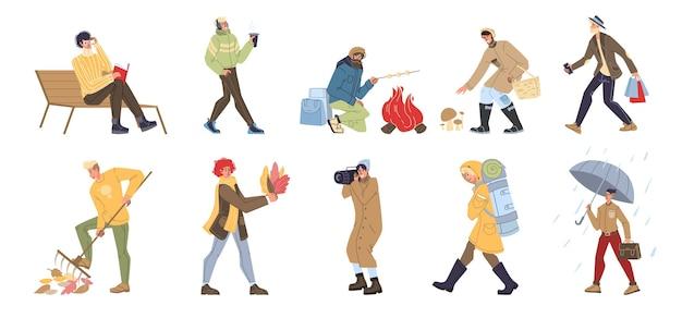 Set van platte stripfiguren herfst activiteiten doen