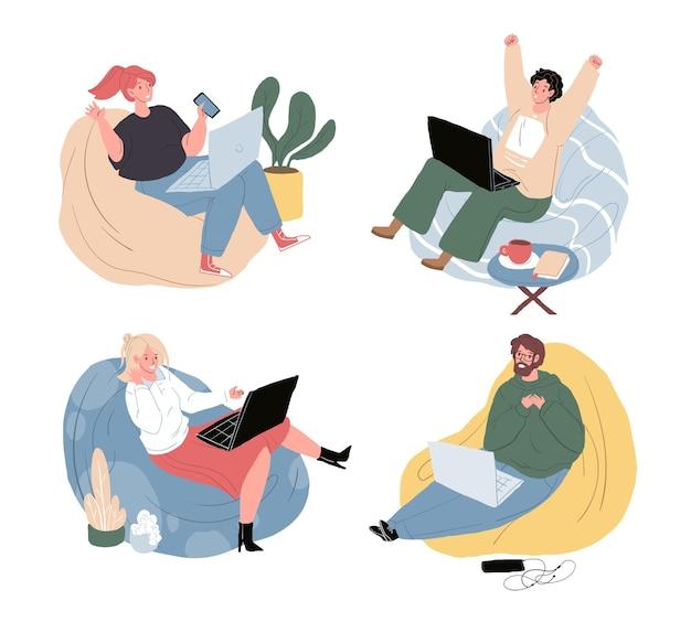 Set van platte stripfiguren zitten in zitzakken in gezellige huiselijke sfeer
