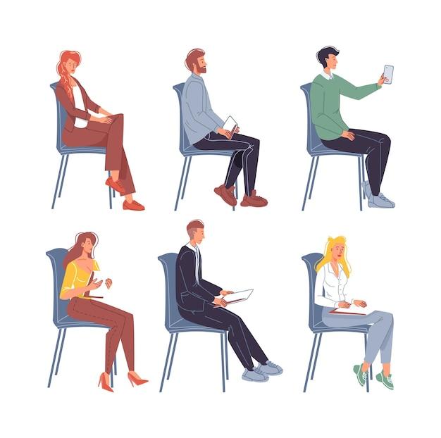 Set van platte stripfiguren zittend op stoelen in verschillende poses