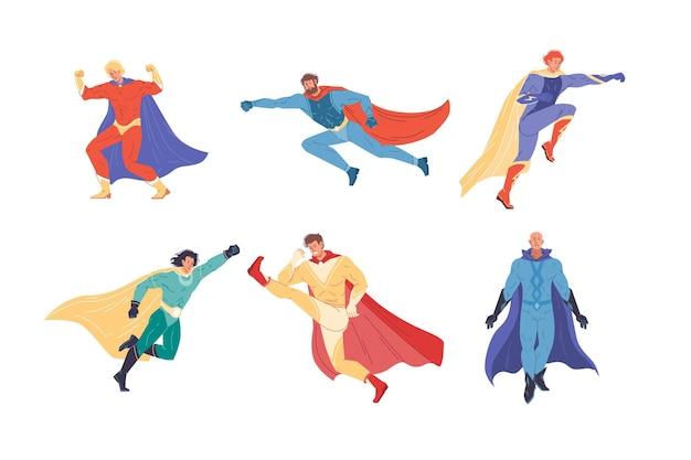 Set van platte superheld stripfiguren