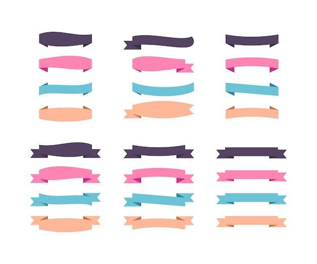 Set van platte tape banners. horizontale kleurenlinten van verschillende vormen