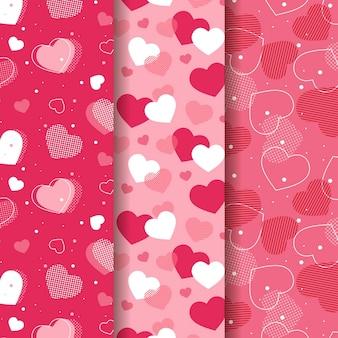 Set van platte valentijnsdag patronen
