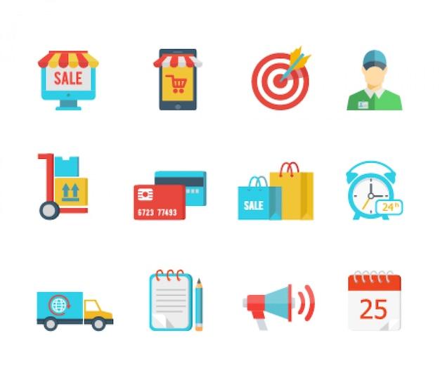 Set van platte vector pictogrammen voor aankoop en levering
