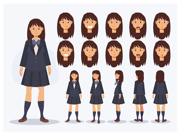 Set van platte vector teken japans student meisje in uniform met verschillende weergaven, cartoon stijl.